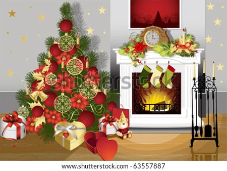 Christmas room with fireplace and presents under tree. All elements and textures are individual objects. Vector illustration scale to any size.
