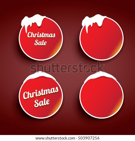 Christmas round web buttons set. glossy winter web buttons with snow and ice