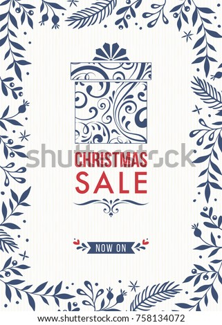 Christmas Sale banner template design with ornate floral frame and gift box. Vector illustration.