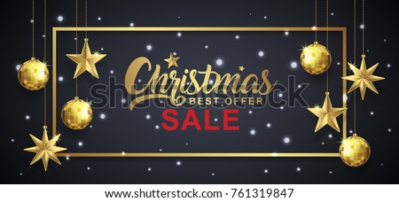Christmas sale banner template typography, golden glitter balls, hanging stars, ribbons and snow decoration for flyers, poster, web, banner, and card vector illustration