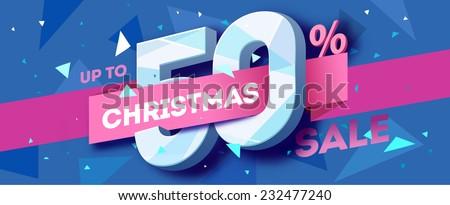 Christmas sale banner. Vector