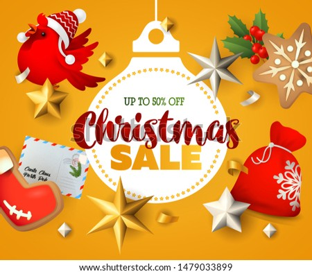 Christmas Sale banner with Christmas wreath, postcards and ginger bread on orange background. Up to fifty percent lettering can be used for posters, leaflets, announcements