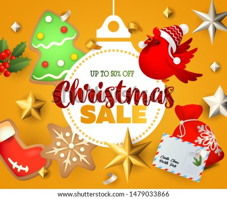 Christmas Sale banner with ginger bread man and cookies on orange background. Up to fifty percent lettering can be used for posters, leaflets, announcements