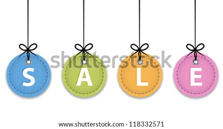 Christmas sale colorful labels. Price tags. Vector illustration - stock vector
