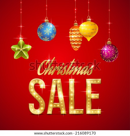 Christmas sale design of template gold text and christmas for Christmas decorations sale online