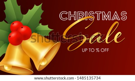 Christmas Sale design with jingle bells, holly leaves and berries on dark red background. Up to percent lettering can be used for posters, leaflets, announcements