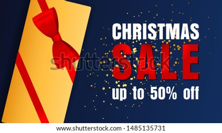 Christmas Sale design with well-decorated present and yellow confetti coming on dark blue background. Up to fifty percent lettering can be used for posters, leaflets, announcements