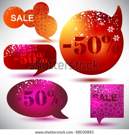 Christmas Sale. Glossy bubbles for speech