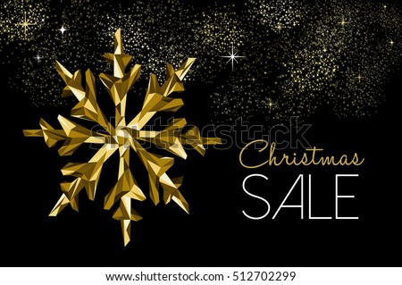 Christmas sale gold winter holiday decoration for seasonal dscount, low poly snowflakes on fireworks sky. EPS10 vector.