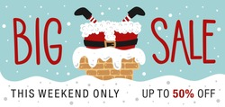 Christmas sale. Hand drawn lettering. Santa Stuck.