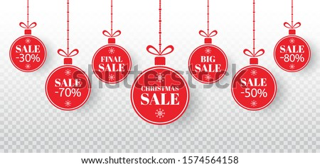 Christmas sale label set. Red xmas balls with sign special offer, final, big sale. Merry Christmas and New Year paper tags sale. Holiday discount, shopping promotion. Vector illustration.
