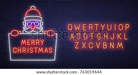Christmas sale neon sign, bright signboard, light banner. New Year logo, emblem and label. Neon sign creator. Neon text edit