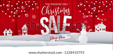 stock-vector-christmas-sale-offer-banner-paper-art-cut-out-background-graphics-business-offer-with-garland