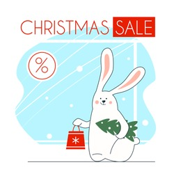 Christmas sale poster. Cute funny rabbit with bag. Winter discounts and bargain purchases and shopping. Time for buy goods.