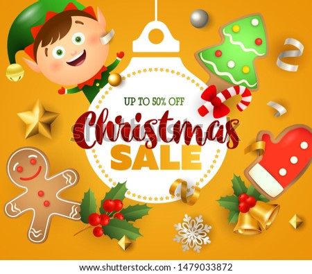 Christmas Sale poster design with Santa boy and ginger bread man on orange background. Up to fifty percent lettering can be used for posters, leaflets, announcements