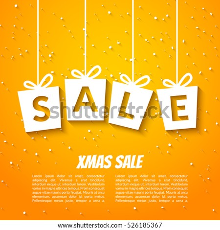 Christmas sale poster template. Xmas sale background. Winter holiday discount offer clearance blue template.