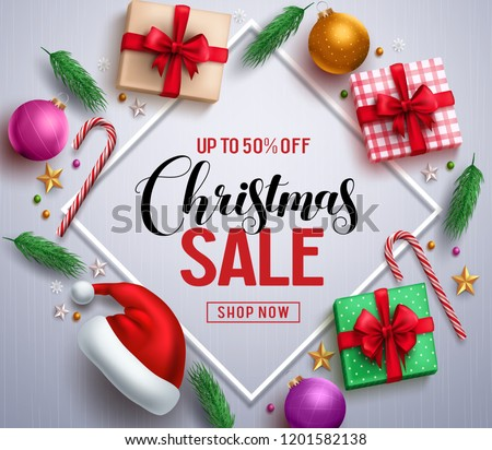 Christmas sale promotional banner with gifts and colorful christmas elements in a frame in white background. Vector illustration.