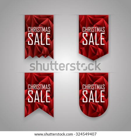Christmas sale ribbon elements. Sales ribbons collection with polygonal background. Eps10 vector illustration.
