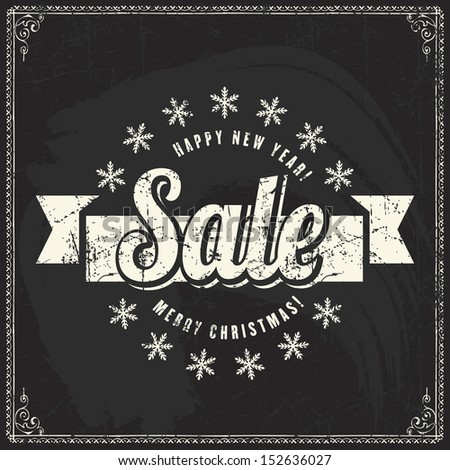 Christmas sale vintage chalk text label on a blackboard