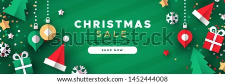 Christmas sale web banner template of 3d paper cut holiday icon decoration. Includes gift box, bauble, santa hat and pine tree.