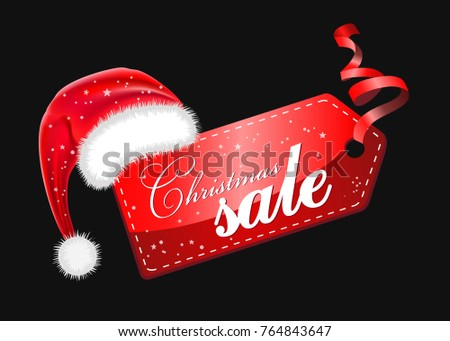 Christmas sales, red New Year sticker, discount sticker with a Santa Claus hat, discount sticker on a black background