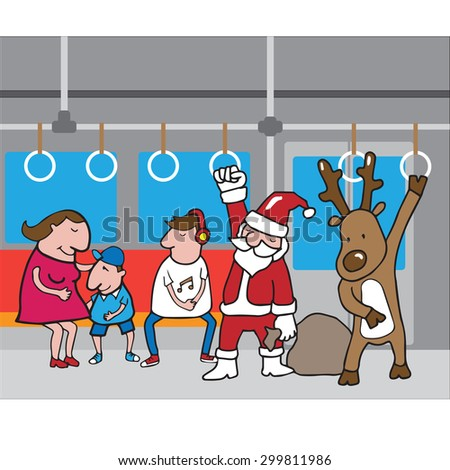 christmas santa and reindeer in