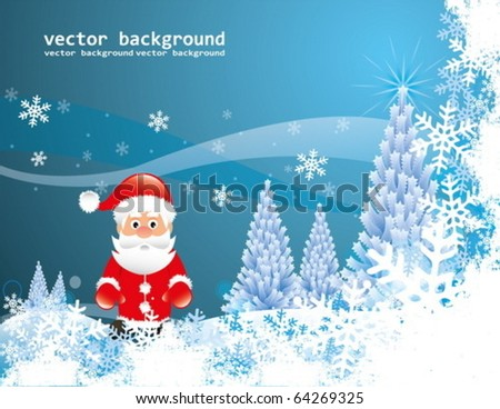 Christmas Santa Claus and christmass trees vector illustration