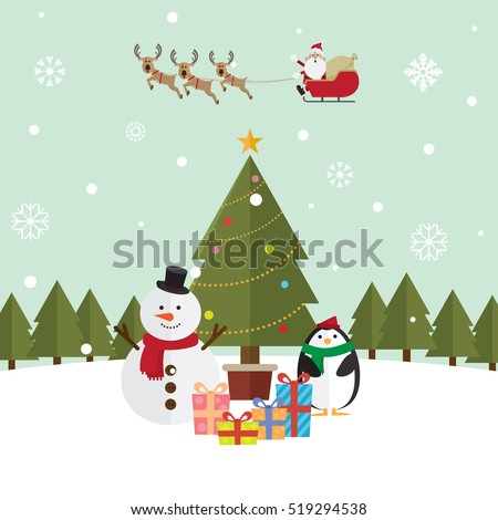 Stock Photo Christmas santa claus and reindeer snow vector