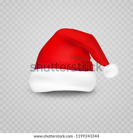 Christmas Santa Claus hat isolated on transparent background. New Year red hat for video chat effects. Vector xmas selfie filter character.