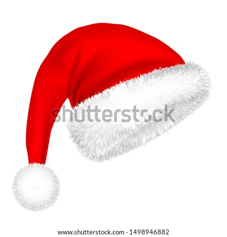Christmas Santa Claus Hat With Fur. New Year. Winter Cap. Vector illustration.