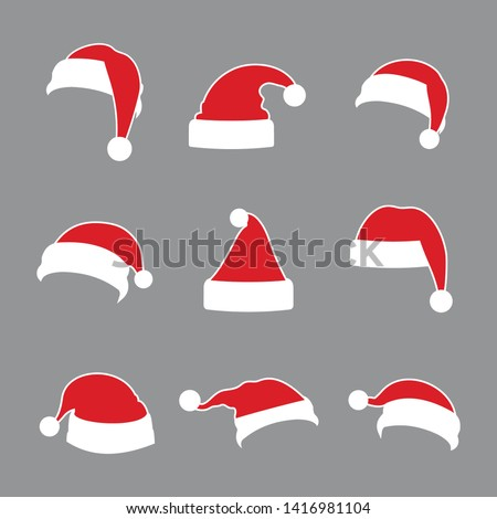 Christmas Santa Claus Hats Collection with White Outline. Vector Santa Claus Hat Set, Holidays Cap to Xmas Illustration, Cute Hat, Red Santa Hat.