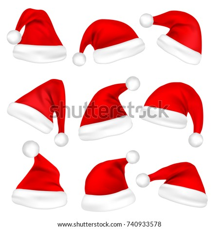 Christmas Santa Claus Hats Set. New Year Red Hat Isolated on White Background. Vector illustration. - Shutterstock ID 740933578