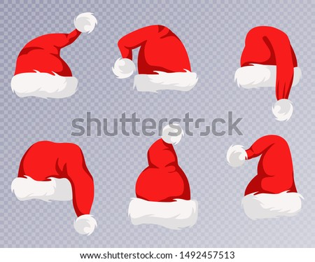 Christmas Santa Claus Hats With Fur Set. New Year Red Hat. Vector illustration, eps10