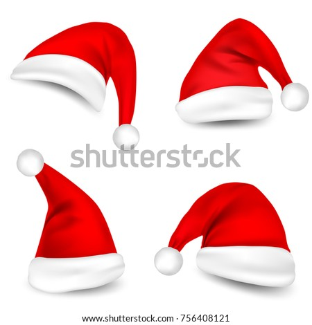 Christmas Santa Claus Hats With Shadow Set. New Year Red Hat Isolated on White Background. Vector illustration.