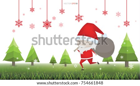 56539f3a8d330 Christmas Santa Claus in green field isolated on white background. Vector  illustration.