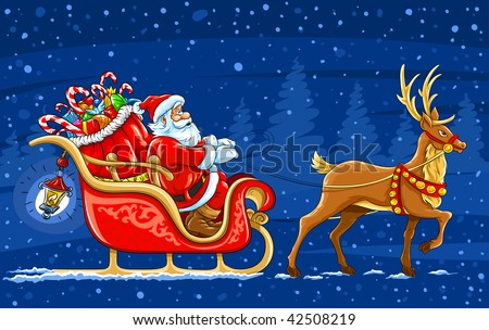 Christmas Santa Claus moving on the sledge with reindeer and gifts - vector illustration - stock vector