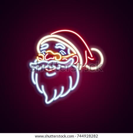 Christmas Santa Claus neon sign. Neon sign, bright signboard, light banner. Vector icons