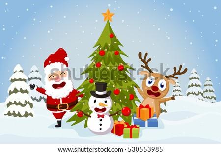 christmas santa claus reindeer and snowmen background - Santa Claus Tree