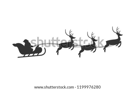 Christmas Santa Claus Reindeer Sleigh Vector Isolated Illustration Background