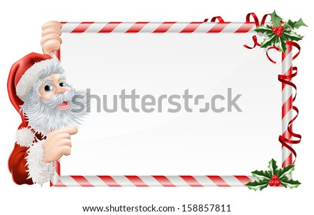 Christmas Santa Claus Sign illustration with Santa peeping round a sign decorated with Christmas Holly sprigs