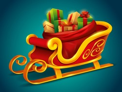Christmas Santa Claus sleigh with sack bag loaded with gift box presents. Isolated.