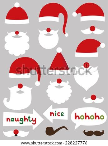 Christmas Santa Claus vector set (hats, beards, naughty and nice signs)