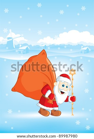 Christmas Santa Claus with a bag of gifts in the village
