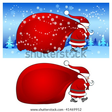 Christmas Santa Claus with big red bag walking in snow, vector illustration
