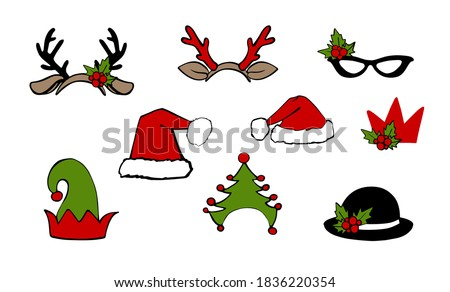 Christmas santa hat and reindeer headband, claus, elf, deer costume holiday photo booth props. Vector xmas masquerade party accessories collection. Noel decoration with fun sign in arrow and bubble. Foto stock ©