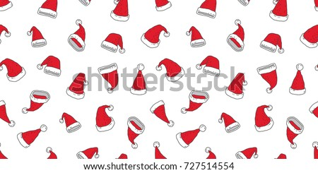 Stock Photo Christmas Santa hat red seamless pattern wallpaper background doodle