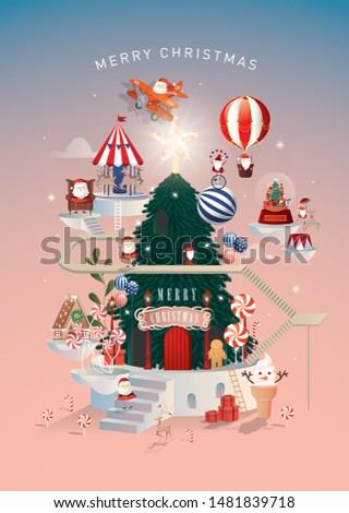 christmas santa's workshop/city greetings template vector/illustration