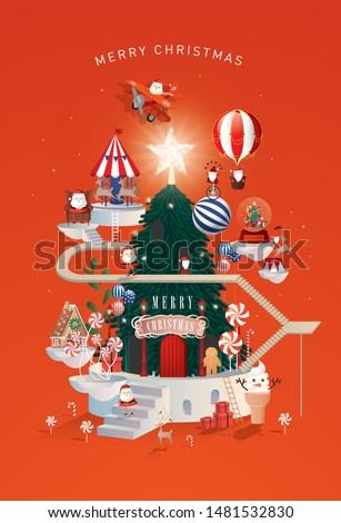 christmas santa's workshop greetings template vector/illustration
