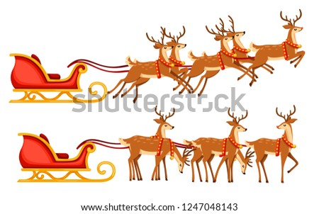 Christmas santa sleigh and group of deer. Flat vector illustration isolated on white background. Red wooden sleigh with flying mythical deer.