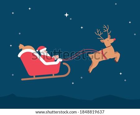 Christmas Santa Sleigh Reindeer Rudolf Vector Illustration